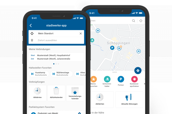App Ansicht des Dashboards und der Karte aus der SmartCity-App
