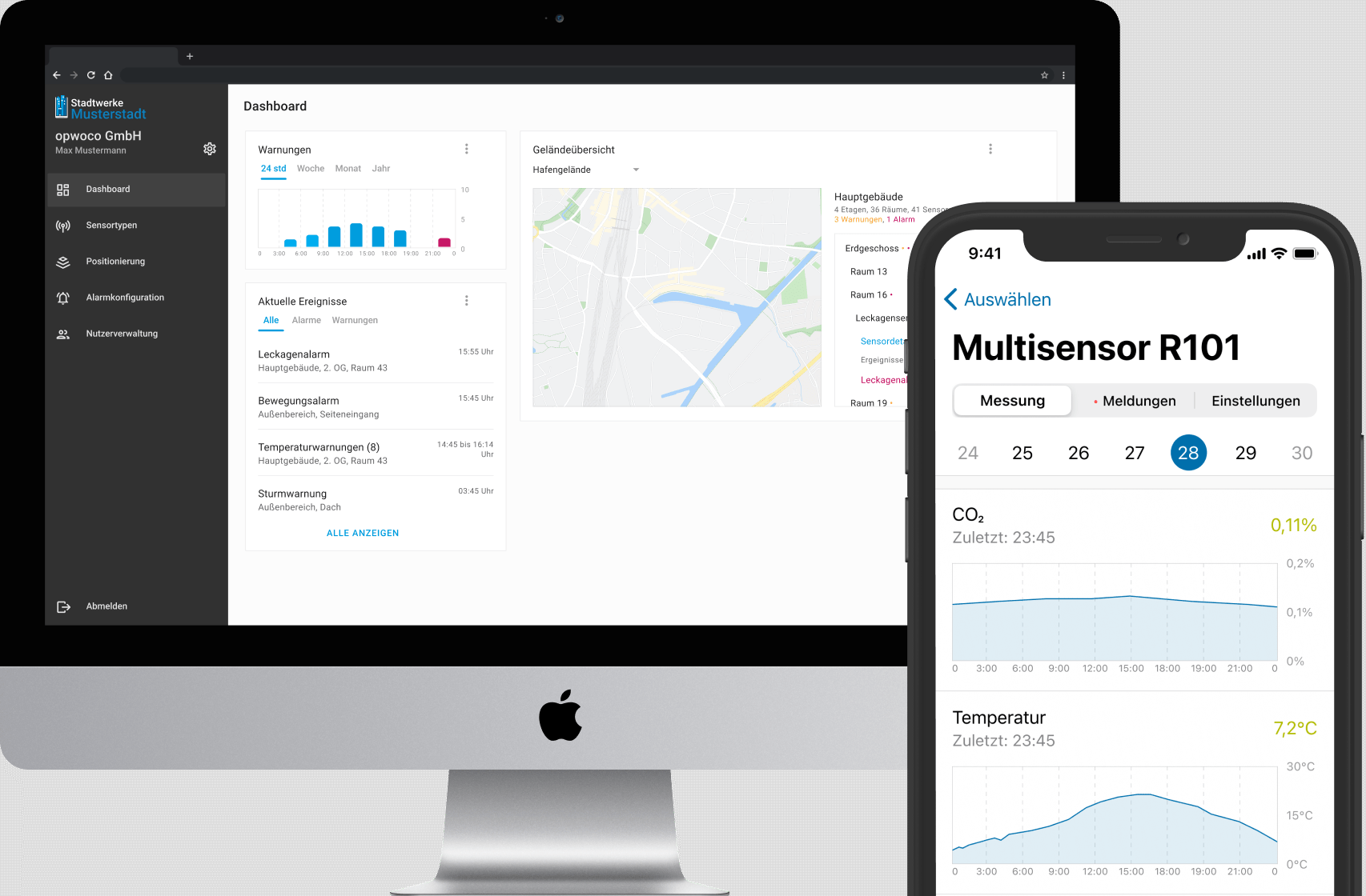 Desktop und Mobile App Ansicht von CityLink (Sensordaten)